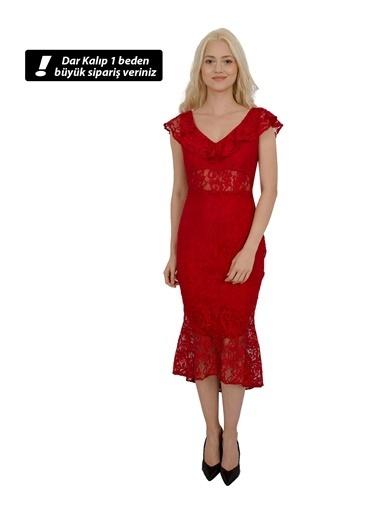 Belamore  Kırmızı Kolsuz Yakası Volanlı Beli Transparan Detaylı Dantel Abiye & Mezuniyet Elbisesi 130137.08 Kırmızı
